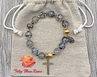 Rosary Bracelet - For Women - Stretch Bracelets - Cross Bracelet - Black Fire Agate - Mom Gift - Gemstone Bracelet - Semi Precious