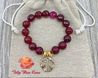 Pink Charm Bracelet - Cross Bracelet - Beaded Bracelet - Mothers Day Gift - For Women - Pink Agate Beads - Gemstone Bracelet - Gold Beads