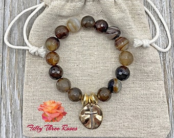 Cross Charm Bracelet - Beaded Bracelet - Stretch Bracelet - Mothers Day - For Women - Brown Agate Beads - Gemstone Bracelet - Semi Precious
