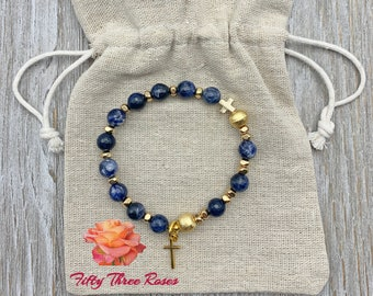 Navy Blue Marbled Agate Rosary Bracelet With Brushed Gold Beads & Cross Charm