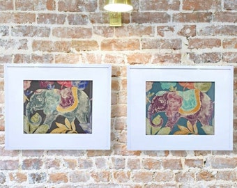 Set Of Two - Elephant Art - Wall Hangings - Wall Decor - Boho Prints - Wall Art - Elephant Decor - Framed Fabric - Framed Art - Home Decor