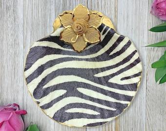 Zebra Print Dish - Zebra Decor - Decoupage Seashell - Ring Dish - Animal Prints - Jewelry Organizer - Women's Jewelry - Gift For Her