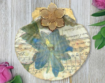 Decoupage Ring Dish - Floral Bowl - Vintage Dish - Flower Print - Vintage Flower Print - Gift For Her - Mothers Day Gift - Jewelry Holder