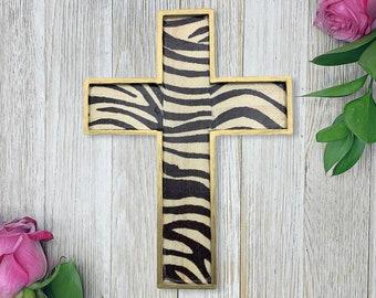 Zebra Wall Cross - Wall Cross - Rustic Decor - Mothers Day Gift - Wall Decor - Wood Cross - Religious Gift - Home Decor