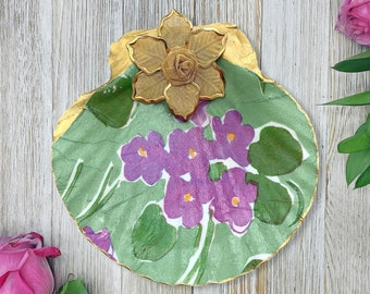 Floral Ring Dish - Decoupage Seashell - Ring Dish - Gift For Her - Mothers Day Gift - Jewelry Tray - Seashell Jewelry Dish - Women's Jewelry