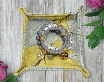 Jewelry Tray - Jewelry Organizer - Jewelry Valet - Yellow Floral Print - Fabric Jewelry Tray - Trinket Tray - Womens Jewelry