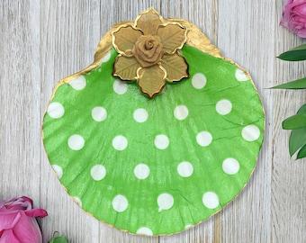 Polka Dot Jewelry Dish - Ring Dish - Polka Dot Print - Seashell Jewelry Dish - Women's Jewelry - Jewelry Holder - Gift For Her