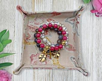 Fabric Jewelry Valet - Travel Tray - Jewelry Holder - Ring Dish - Women's Jewelry - Catch all Tray - Jewelry Snap Tray - Jewelry Organizer