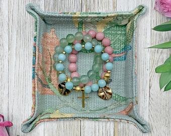 Jewelry Tray - Dice Tray- Jewelry Valet - Jewelry Organizer - Blue Floral Print - Travel Jewelry Organizer - Home Accessories