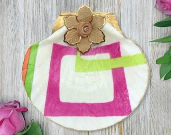 Seashell Jewelry Dish - Beach Decor - Ring Dish - Gift For Her - Mothers Day Gift - Jewelry Organizer - Decoupage Art - Jewelry Holder