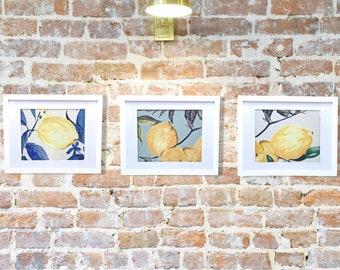 Set Of Three - Wall Art - Framed Fabric - Wall Decor - Framed Textiles - Lemon Wall Decor - Wall Hangings - Home Decor - Farmhouse Decor
