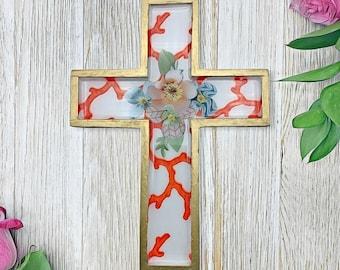 Wall Cross - House Warming Gift - Religious Gifts - Beach Decor - Wooden Cross - Wall Decor - Wall Art -  Decoupage Cross - Coral Reef Decor