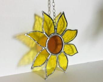 Stained Glass Sunflower, Sunflower Suncatcher, Sunflower Window Decoration, Hanging Glass Decoration, Mother's Day Gift, Hanging Sunflower,