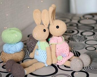 Amigurumi pattern for crochet Rabbit gardener. Easter bunny toy | 270x340