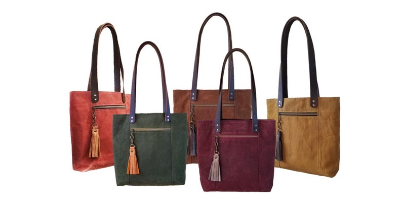 Tassel Tote Bag Waxed Canvas and Leather in Toasted Cinnamon