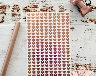 Holographic Rose Gold Tiny Heart Stickers