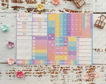 Hobonichi Techno Cousin A5 Planner Monthly Kit, Monthly Stickers Sheet, Journal Planner Kit, Bujo Stickers Sheet, January, 2021