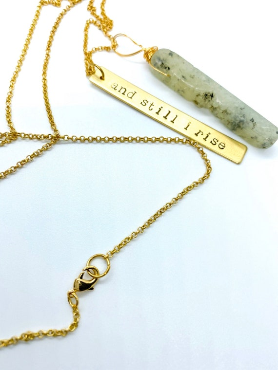 Necklace And Still I Rise Feminist Maya Angelou Brass Pendant Crystal Customise Handstamped Words