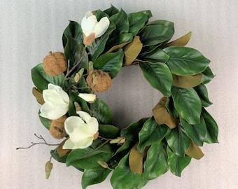Fall Magnolia wreath,Magnolia leaves wreath with pumpkin,Magnolia flowers wreath,Farmhouse-Cottage wreath,Magnolia front door wreath,Rustic