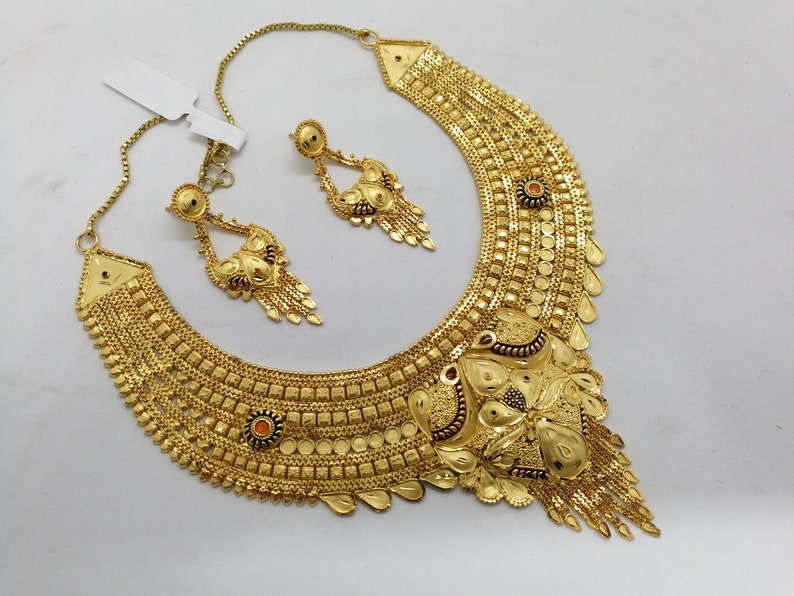 GOLD FORMING JEWELRY|Indian Bridal Imitation Gold Forming Necklace Jewelry set Ethic Jewelry|Wedding Gold Forming Necklace Earrings Jewelry