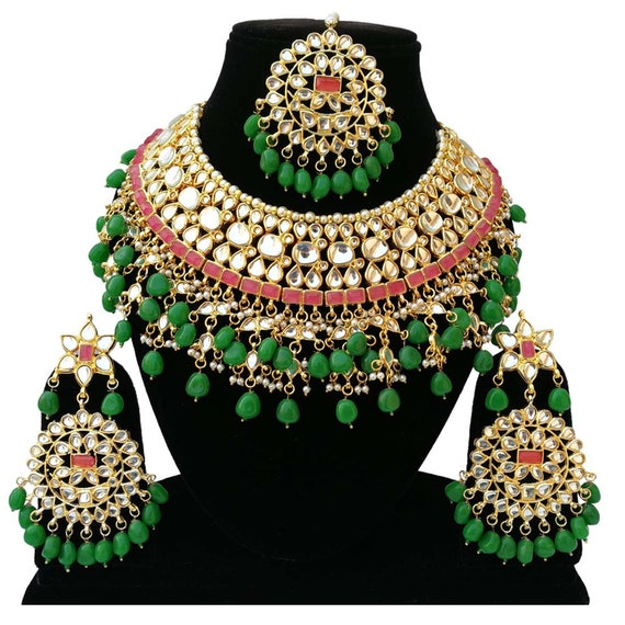 Retailbees Meena Kundan Indian Bridal Wedding Designer Gold Plated Pearls Choker Necklace Jewelry Set