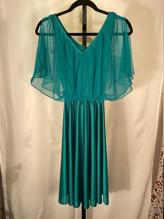 Handmade 70's teal disco dress