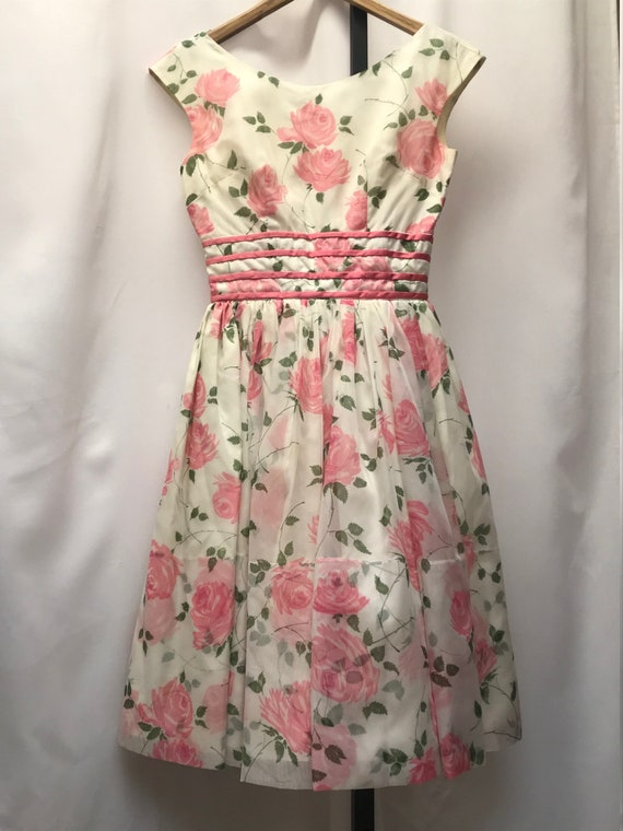 1963 vintage original floral junior prom dress