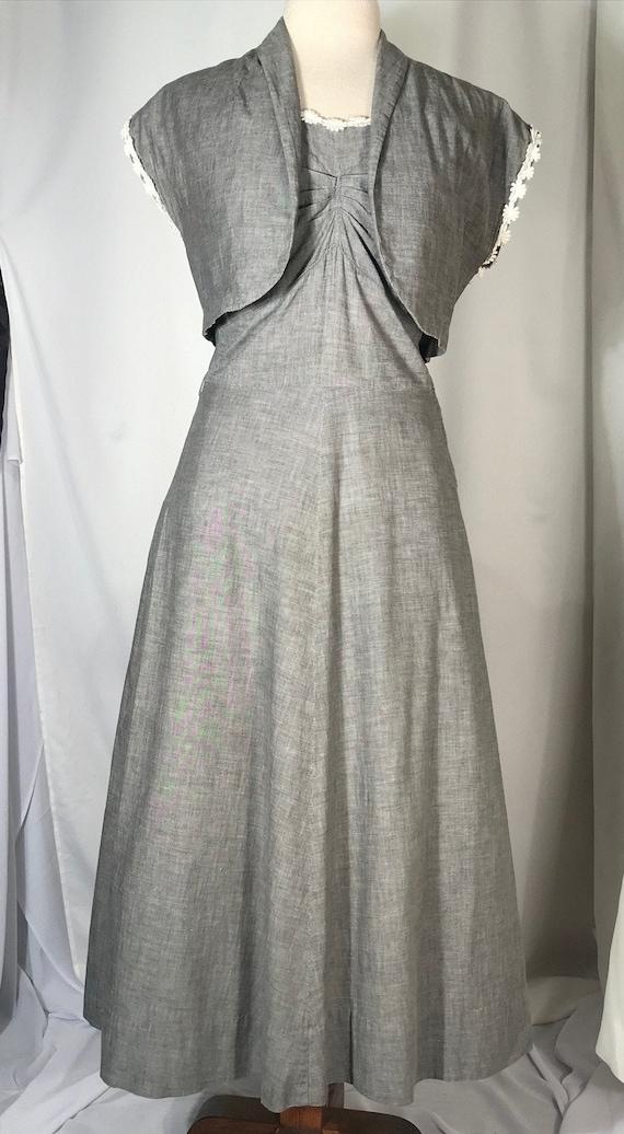 1950's gray 2 piece dress set with bolero