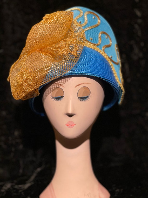 1980's woven embellished hat