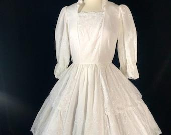 Vintage eyelet lace square dance dress