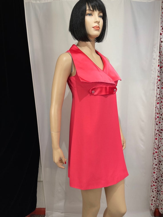 1960's vintage bright pink wrap mini dress