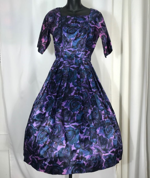 1950's satin floral dress by Adrian Tabin
