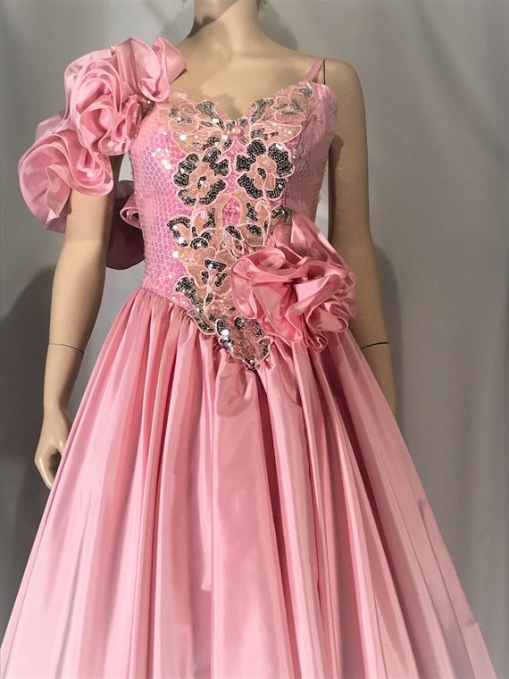 1980's pretty in pink satin prom dress
