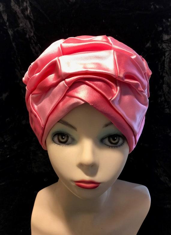 Christian Dior pink satin patchwork turban hat