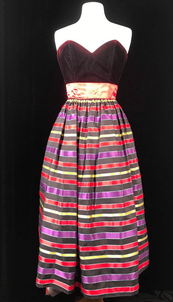 Gunne sax 80's vintage strapless striped party dre