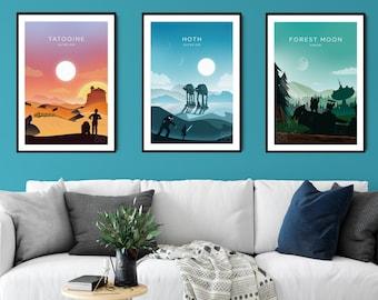 Star Wars Inspired Posters / Set of 3 Prints / Minimalist Travel Wall Decor Prints