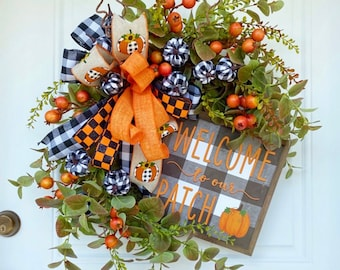 Fall Welcome Wreath, Welcome to Our Patch, Fall Pumpkin Wreath, Happy Fall Wreath, Farmhouse Wreath, Rustic Wreath, Buffalo Check Wreath