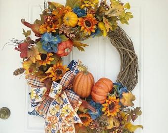 Large Fall Wreath, Colorful Fall Wreath, Fall Pumpkin Wreath, Fall Front Door Wreath, Fall Door Decoration, Harvest Decor, Autumn Wreath