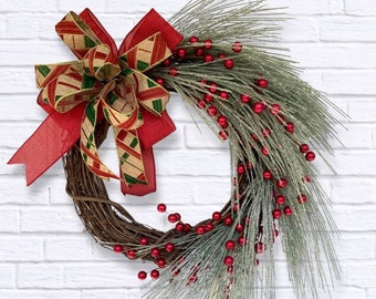Christmas greenery wreath for front porch, Contemporary holiday wreath, Holiday porch decor, Farmhouse wreath, Rustic holiday decor