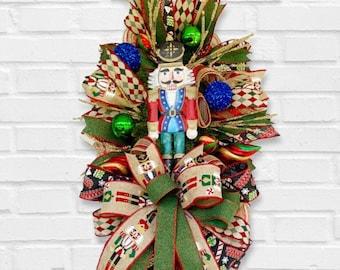 Nutcracker Christmas Swag, Christmas Wreath, Seasons Greeting Decor, Holiday Decoration for Your Home