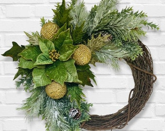 Poinsettia Wreath, Christmas Poinsettia Wreath, Christmas Wreath, Monochromatic Christmas Wreath, Holiday Wreath, Green Christmas Wreath
