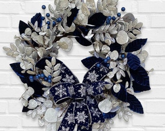 Silver and Blue Winter Wreath for Front Door, Navy Holiday Decor, Velvet Holiday Wreath, Elegant Winter Wreath, Metallic Silver Wreath