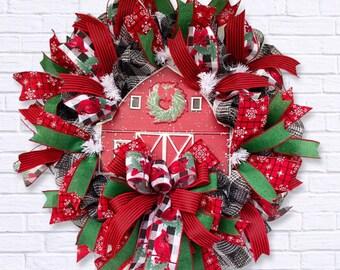 Christmas Wreath, Christmas Wreath with Red Barn, Farmhouse Christmas Decor, Holiday Porch Decor, Country Christmas Wreath, Red Barn Holiday