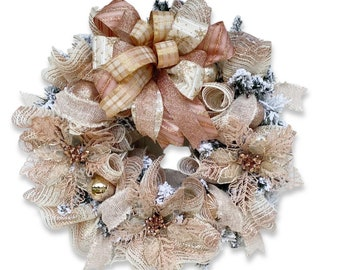 Rose Gold Christmas Wreath for Front Door, Pink Christmas Pointsettia Wreath, Holiday Wreath, Christman Porch Decor, Blush Pink Wreath