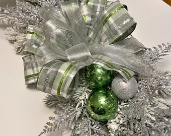 Christmas Centerpiece for table, Holiday Centerpiece and Evergreen Centerpiece, Winter Centerpiece, Silver and Lime Holiday Decoration