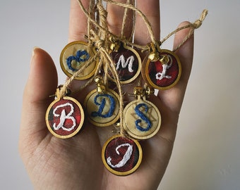 Multiple designs Hand Stitched Mini Hoops Keychains and Magnets