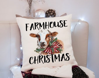Handmade Embroidered CHRISTMAS COW in WREATH 15 Square Accent Throw Pillow