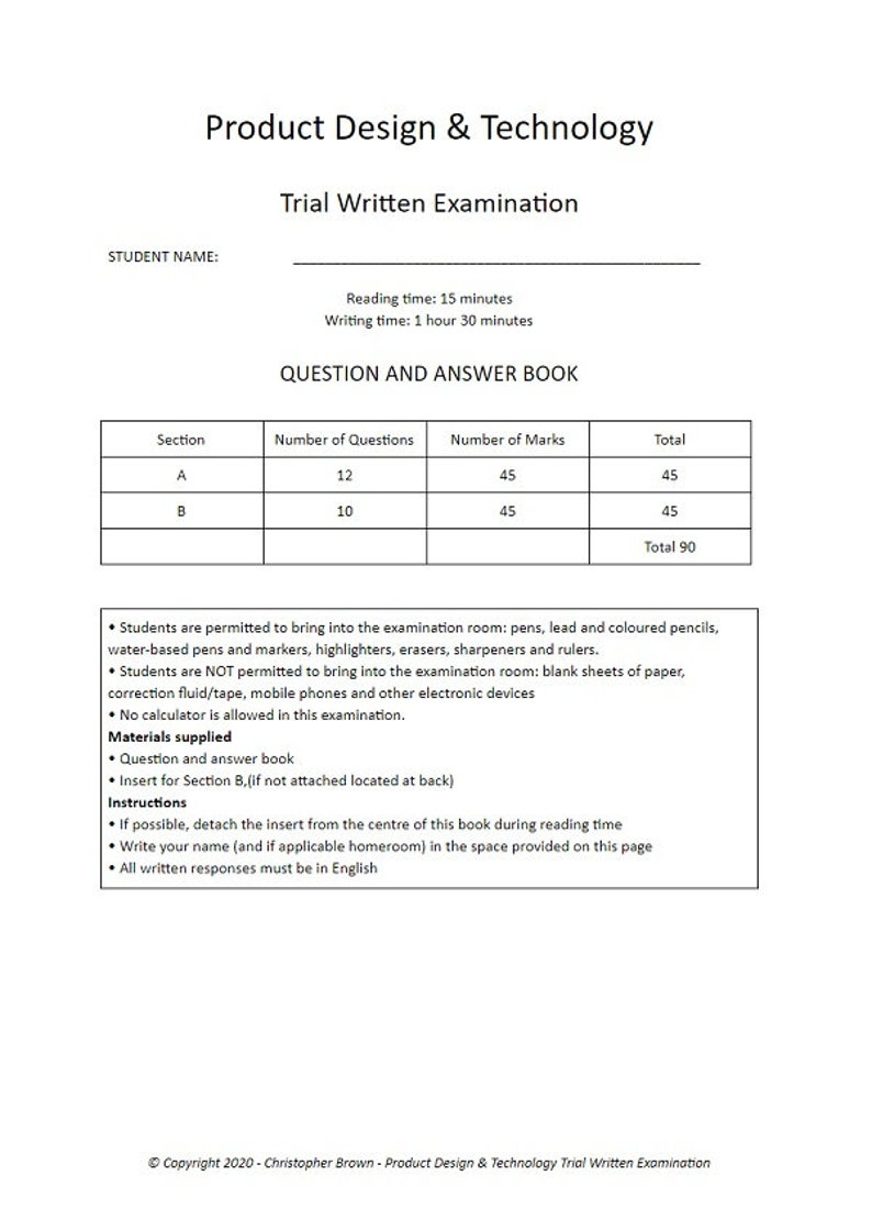 VCE Product Design & Technology Trial Exam 2020 image 0