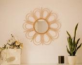 Natural wall Rattan Mirror FLOWER