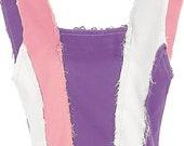 pastel patchwork denim corset top crop top - brown patchwork tank top